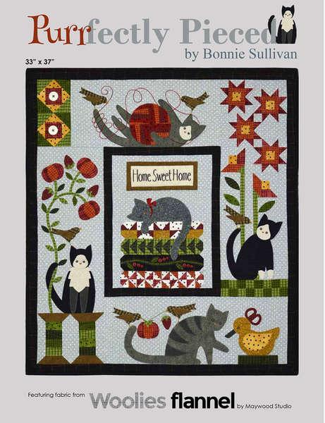 Purrfectly Pieced - Block of the Month Quilt Pattern - Bonnie Sullivan - Complete Set 5 blocks - Flannel or Wool Applique - Bonus projects!! - RebsFabStash