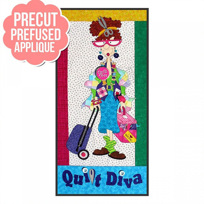 Quilt Diva KIT - Includes pattern and applique pieces precut and prefused! - Wall hanging or Quilt Pattern by Amy Bradley Designs - RebsFabStash