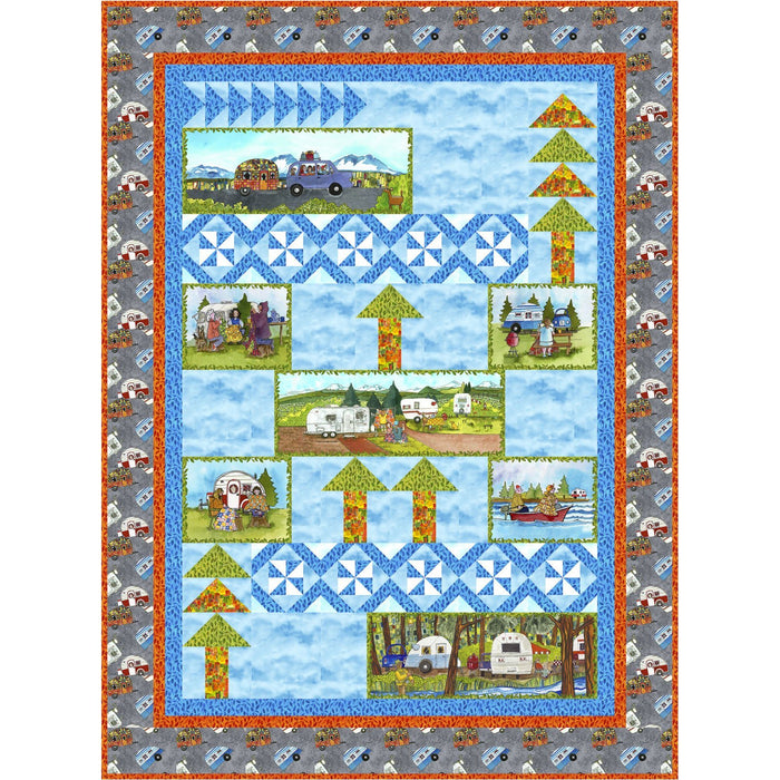 Quilter's Road Trip - per yard - Maywood Studio - Kathy Deggendorfer - Leaves on Blue - Tonal, Blender - Camping! Outdoors! Adventures! - RebsFabStash