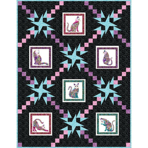"Radiance Quilt Kit - uses Cat-I-Tude by Ann Lauer for Benartex - Lap Quilt 54"" x 70"" - RebsFabStash"