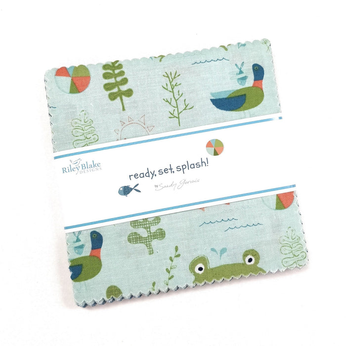 "Ready, Set, Splash! - Charm Pack - Sandy Gervais - Riley Blake Designs - (42) 5"" Squares - RebsFabStash"