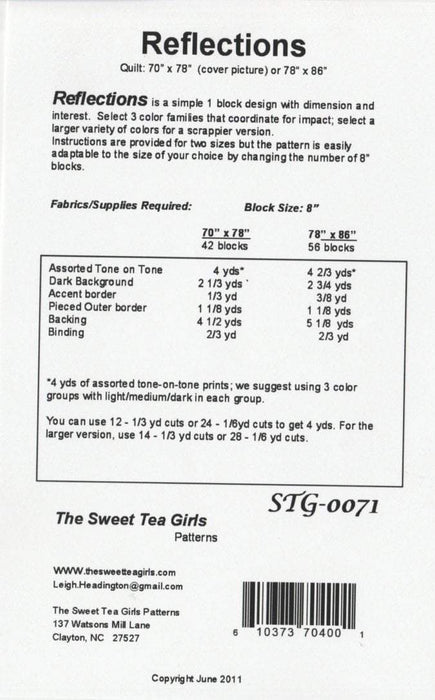 Reflections - Pattern - Sweet Tea Girls - RebsFabStash