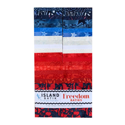 "Freedom - by Kathy Engle for Island Batiks - Jelly Roll - Strips (40) 2.5"" strips - Beautiful Collection! - Red, White and Blue"