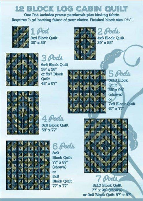 Salem Quilt Show - 12 Block Log Cabin Quilt Kit- POD - Maywood Studio - Meg Hawkey - RebsFabStash