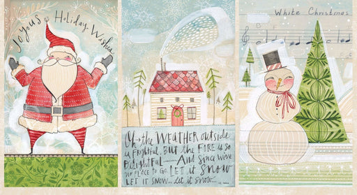 "Santa, House, Snowman Panel - A Wonderful Time - Merry Stitches - Cori Dantini - Blend - PANEL 24"" x 44"" - RebsFabStash"