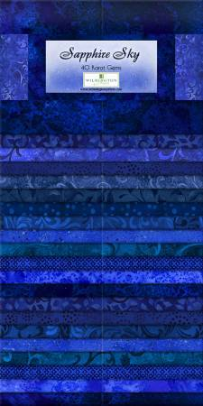 "Sapphire Sky - (24) 2.5"" Strips - Wilmington Prints - Gems - Shades of Blue - RebsFabStash"
