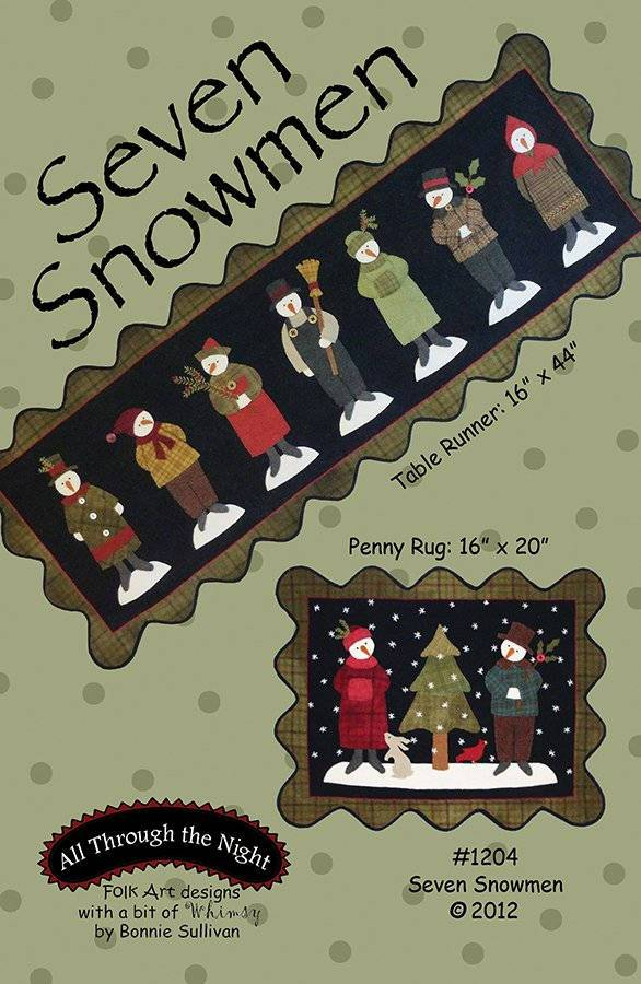 Seven Snowmen - Primitive wool applique pattern - Table runner or penny rug- Bonnie Sullivan - Flannel or Wool applique - RebsFabStash