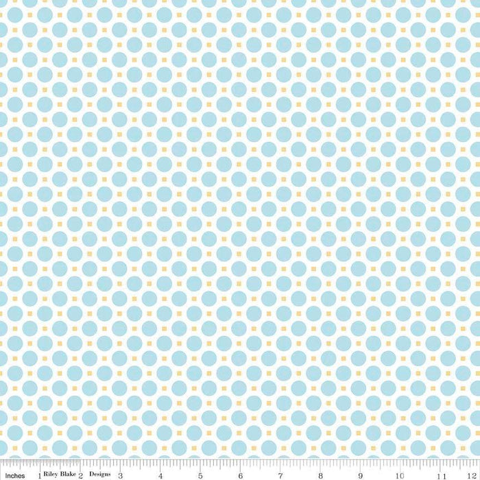 Sew Cherry 2 - per yard - Riley Blake - by Lori Holt - Aqua circles on white - blender - RebsFabStash