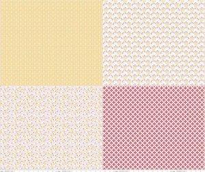 Sew Cherry 2 - per yard - Riley Blake - by Lori Holt - Pink and yellow fat quarter panel - background, tonal, blender FQP 5809 Yellow - RebsFabStash