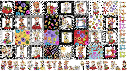 Sew Curious - Per PANEL - Loralie Harris Designs - Ladies Buttons, Sewing Machines, Pin Cushions, blocks - RebsFabStash