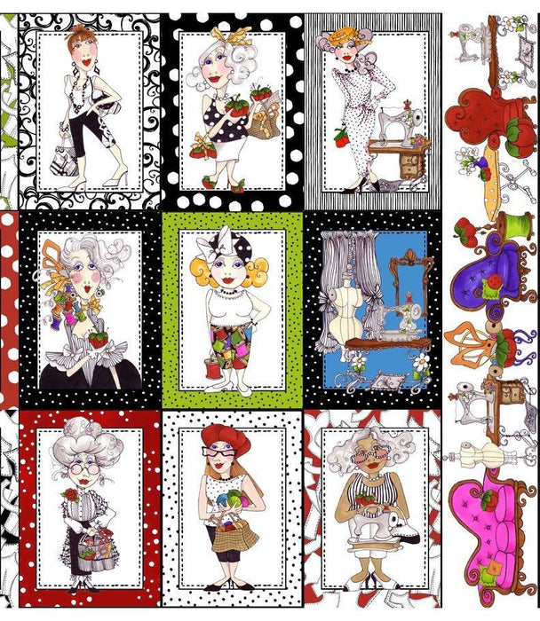 Sew Fabulous- panel - Loralie Harris Designs - Ladies with notions and fabric - END OF BOLT 2/3 PANEL on white - RebsFabStash