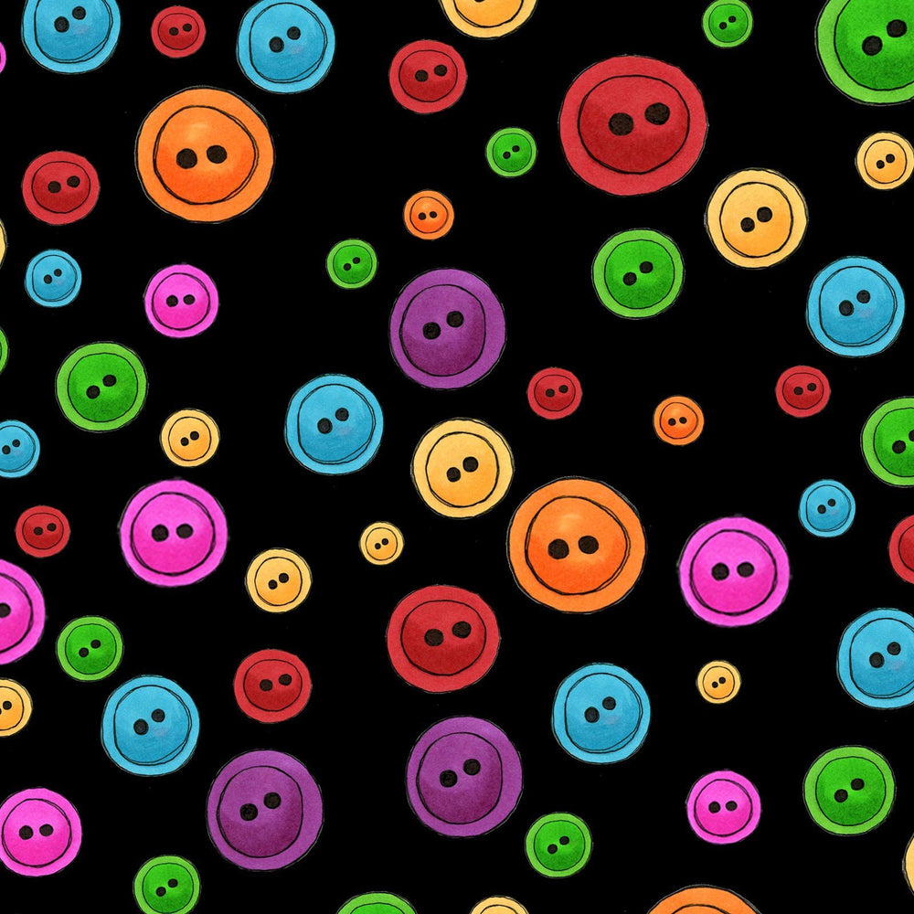 Sew Fabulous- per yard - Loralie Harris Designs - multi colored buttons on black - RebsFabStash
