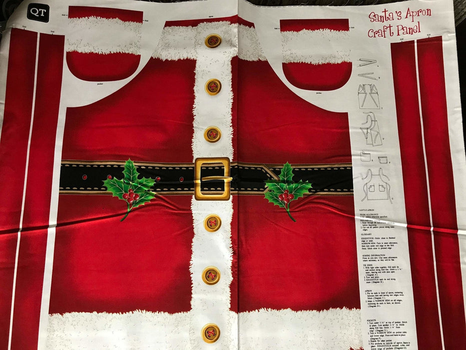 "Sew & Go - Santa 's Apron Craft Panel - Studio 8- for Quilting Treasures - ADORABLE Santa apron! - Great gift! - Panel measures 36"" - RebsFabStash"