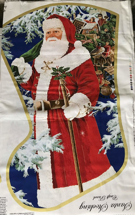 "Sew & Go - Santa 's Stocking Craft Panel - Studio 8- for Quilting Treasures - ADORABLE Santa Stocking! - Great gift! - Panel measures 36"" - RebsFabStash"