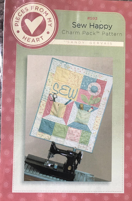 Sew Happy - Charm Pack Quilt Pattern - Sandy Gervais - #593 - Pieces from my Heart - Uses Moda fabrics - RebsFabStash