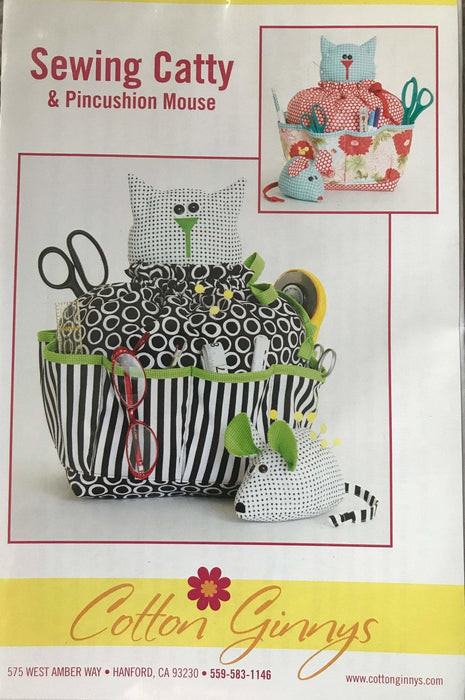 Sewing Catty & Pincushion Mouse - Cotton Ginny's - These are sew cute!! - Sewing room accessory pattern - RebsFabStash