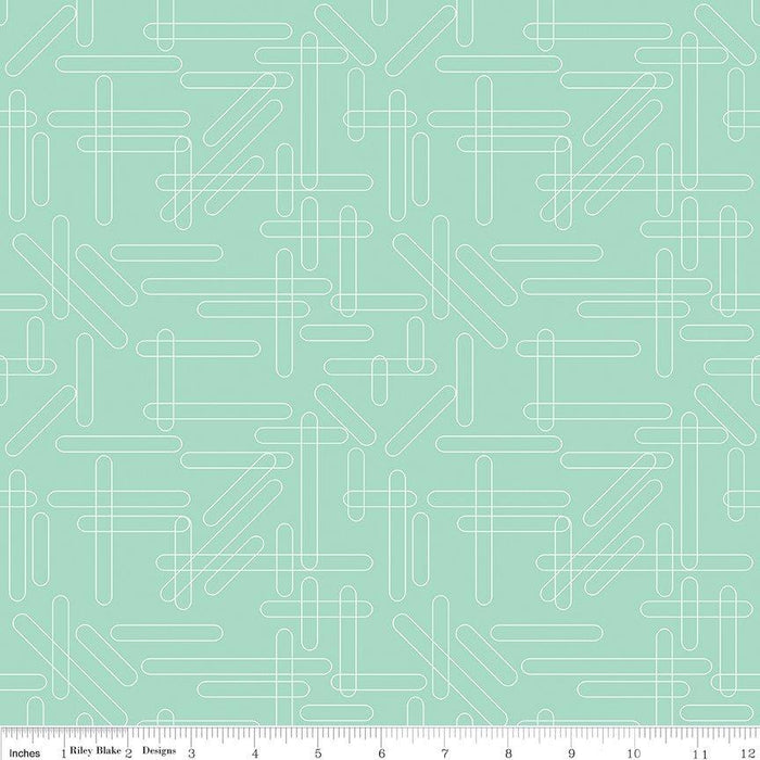 "Shine Bright - Jelly Roll - Quilt fabric - Riley Blake - by Simple Simon - (40) 2.5"" x 44"" strips - pink, light aqua, mint white and black - RebsFabStash"