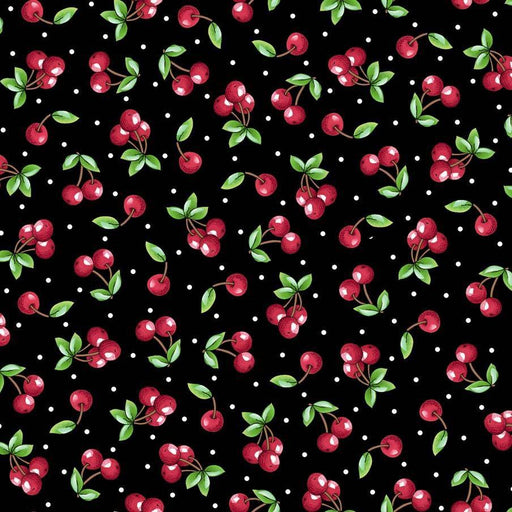 SHIPPING NOW! - Per Yard - Mary Engelbreit for Quilting Treasures - Mottos to Live By - Tossed cherries on black - RebsFabStash