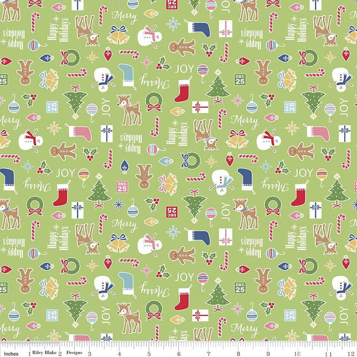 SALE Green by Lori Holt of Bee in My Bonnet for Riley Blake Designs - Fat Quarter Panel FQP-7974-GREEN Cozy Christmas Collection