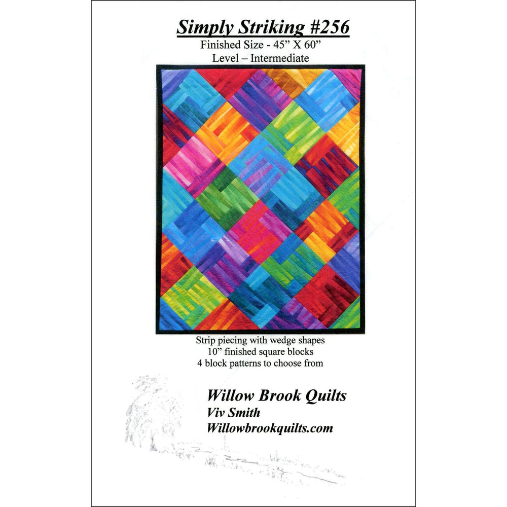 Simply Striking #256 - Quilt pattern - Gelato ombre fabrics - Maywood - Strip piecing & wedges - 4 block options - Willow Brook Quilts - C - RebsFabStash
