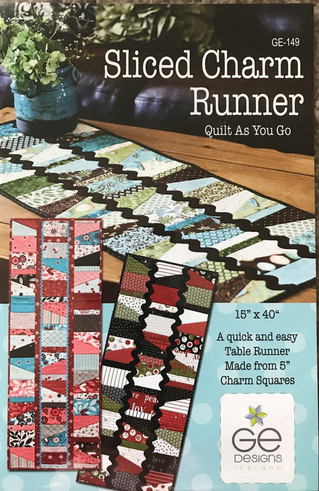 "Sliced Charm Runner - Quilt as you Go - quick and easy table runner from 5"" charm squares - GE 149 - G.E. Designs Iceland - RebsFabStash"