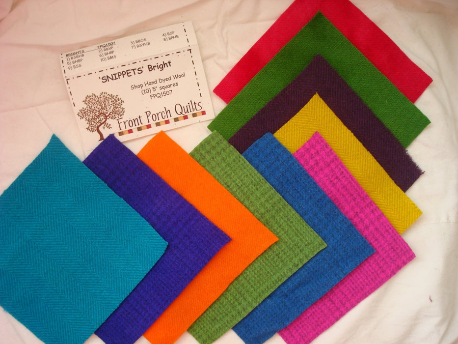 "Snippets ""Bright"" Hand Dyed Wool by Front Porch Quilts - (10) 5 inch squares - FPQ1507 - Wool charms, applique - RebsFabStash"
