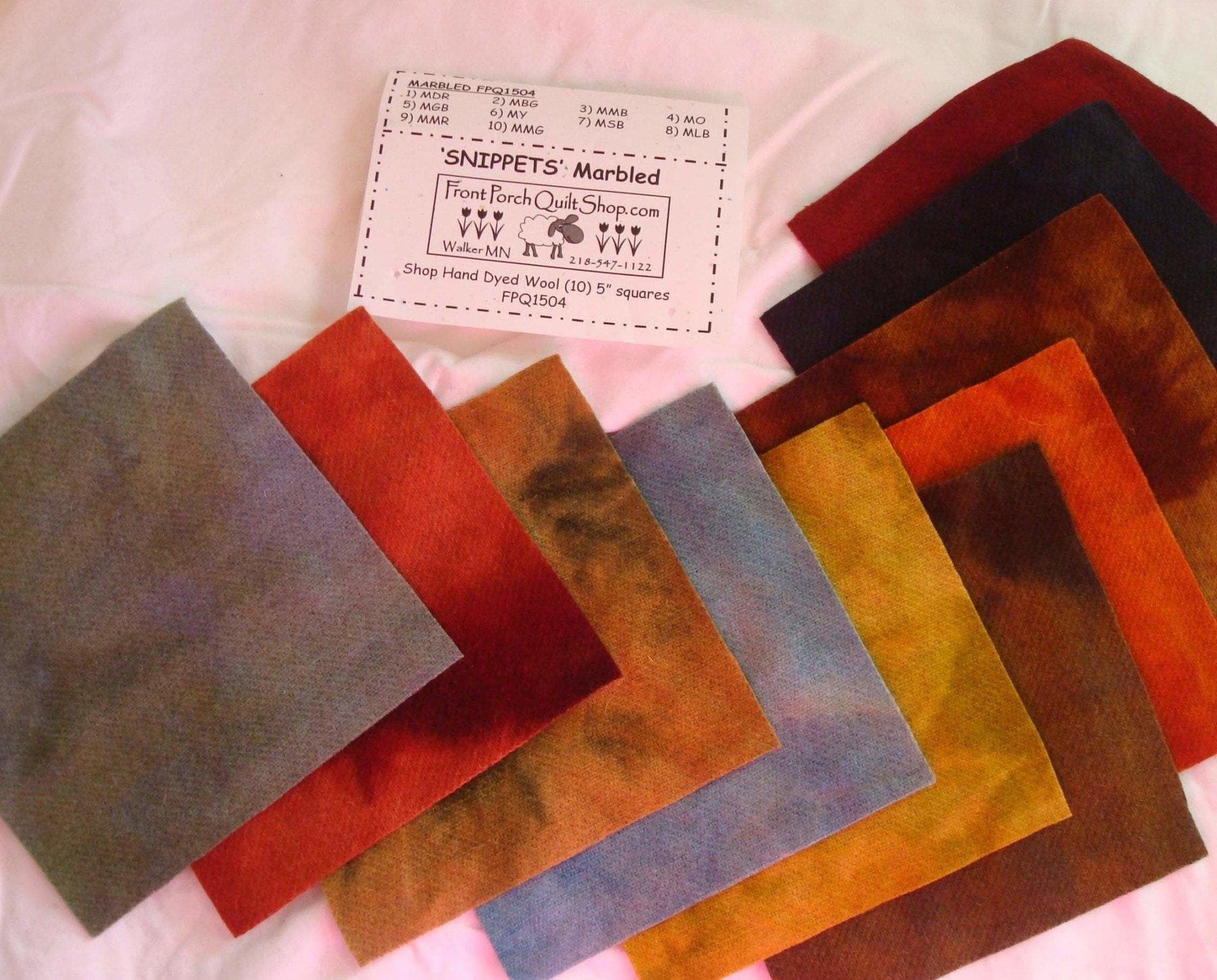 "Snippets ""Marbled"" Hand Dyed Wool by Front Porch Quilts - (10) 5 inch squares - FPQ1504 - Wool charms, applique - RebsFabStash"