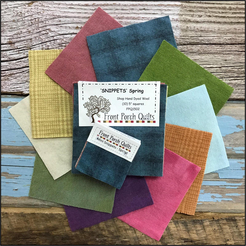 "Snippets ""Spring"" Hand Dyed Wool by Front Porch Quilts - (10) 5 inch squares - FPQ1502 - Wool charms, applique - RebsFabStash"