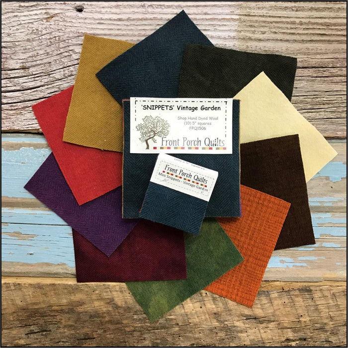 "Snippets ""Vintage Garden"" Hand Dyed Wool by Front Porch Quilts - (10) 5 inch squares - FPQ1506 - Wool charms, applique - RebsFabStash"
