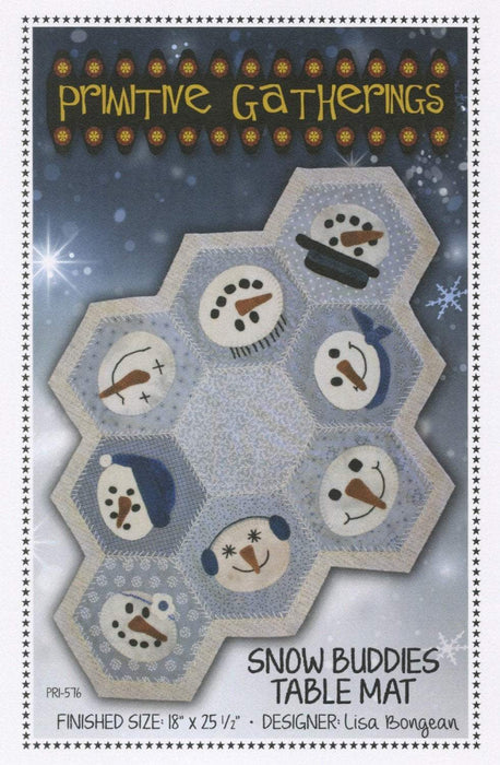 Snow Buddies Table Mat or Candle pattern-Primitive Gatherings by Lisa Bongean -Primitive, Wool Applique, candle mat, friendly #576 - RebsFabStash
