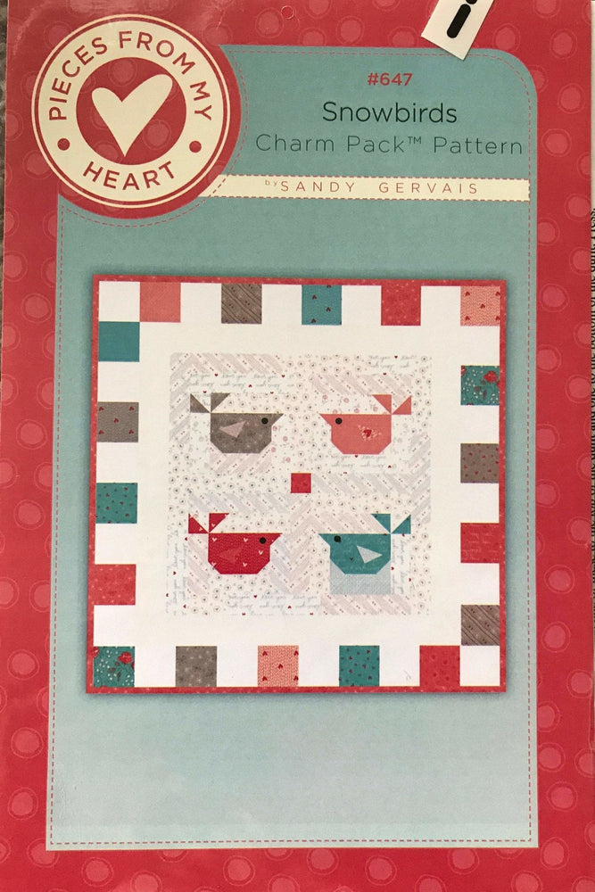 Snowbirds - Charm Pack Quilt Pattern - Sandy Gervais - #647 - Pieces from my Heart - Uses Moda fabrics - RebsFabStash