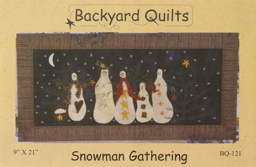 Snowman Gathering- wall hanging or pillow pattern- Primitive Gatherings by Lisa Bongean -Wool, Applique, Charm pack friendly #121, snowman - RebsFabStash