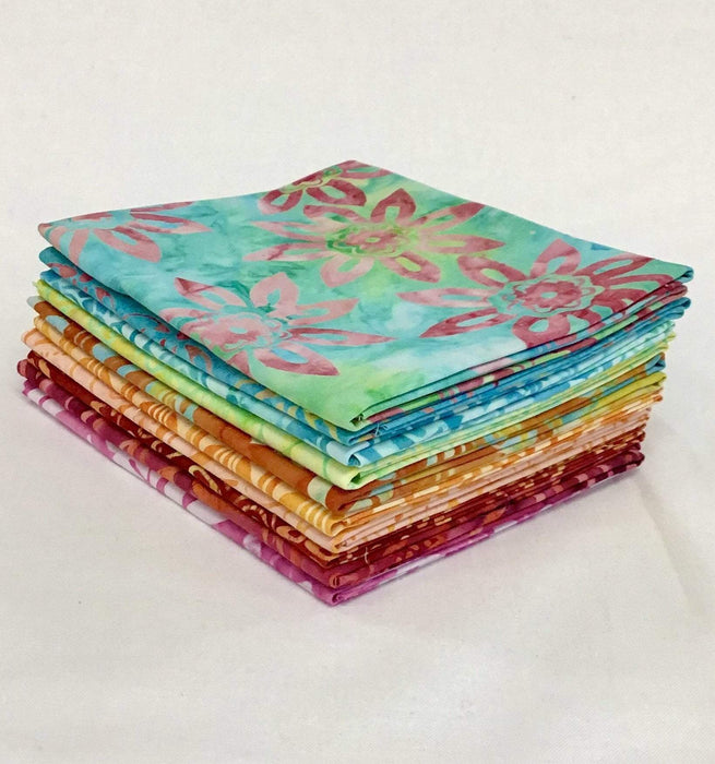 "Sorbet - Fat Quarter Bundle - (10) 18"" x 21"" Pieces - Anthology Batiks - Hand Crafted - Bright, fun, tropical colors - RebsFabStash"