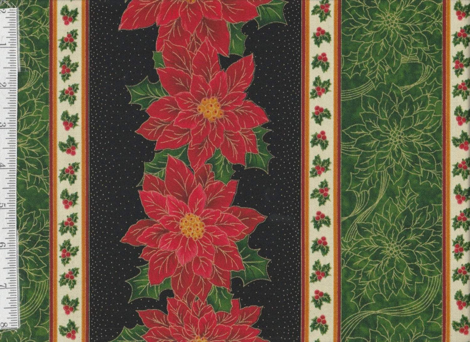 Sounds of the Season - per yard - Quilting Treasures - Poinsettia on Crm - RebsFabStash