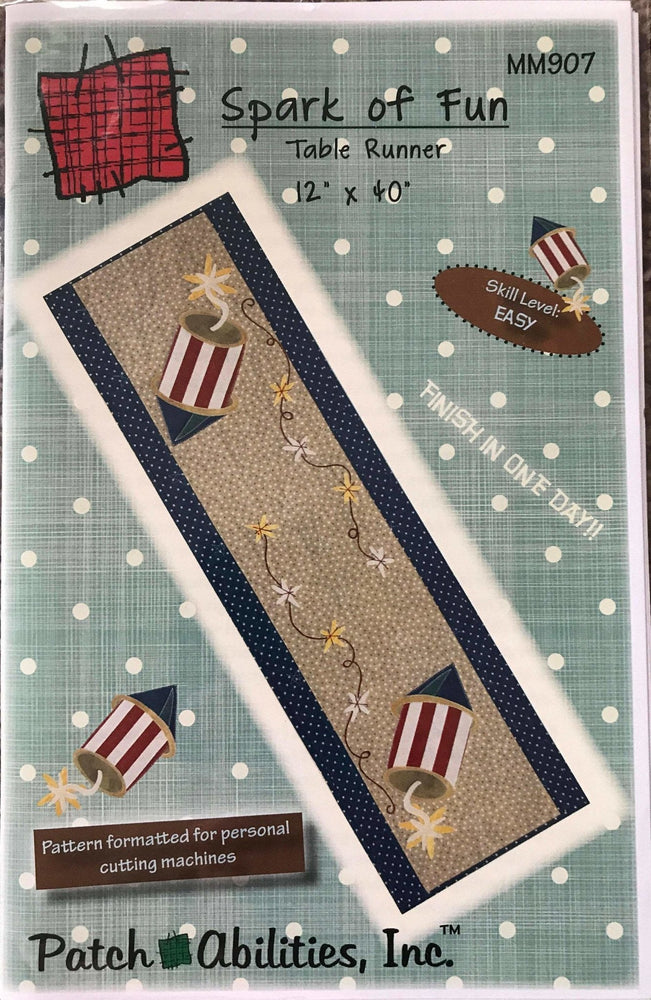 Spark of Fun Table Runner Pattern by Patch Abilities, Inc. Easy Pattern - MM907 - 4th of July - Patriotic - Holiday - RebsFabStash