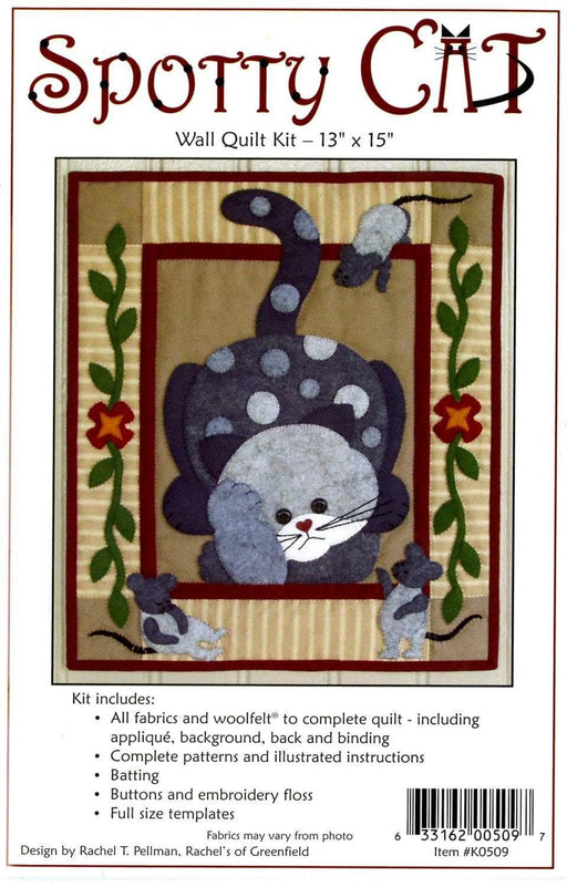 Spotty Cat Quilt Kit - Includes fabrics, pattern, buttons! - Rachel Pellman - Rachel's of Greenfield - Wall hanging quilt kit - RebsFabStash
