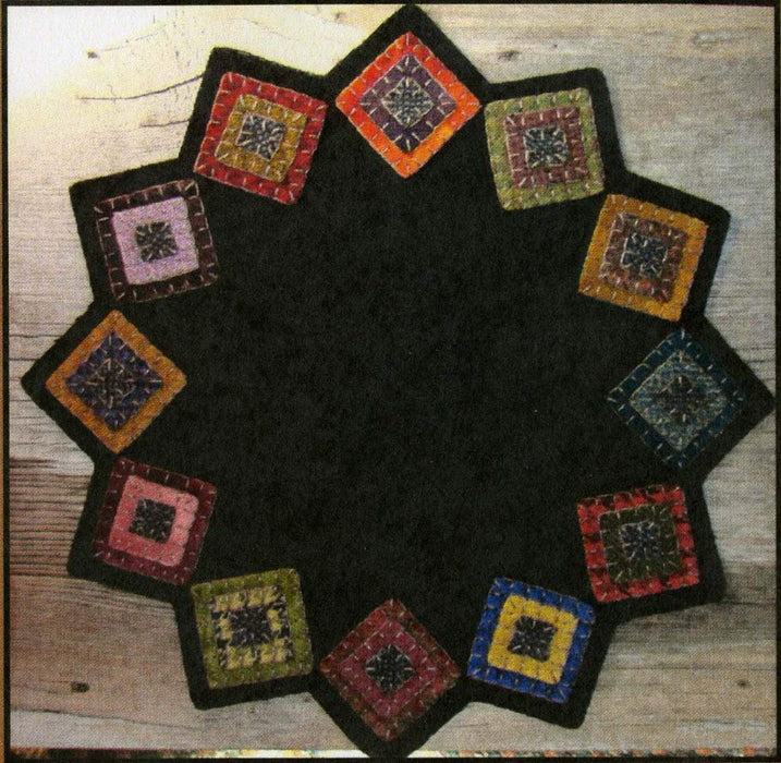 Squared Up Table Mat- pattern- Primitive Gatherings by Lisa Bongean -Primitive, Wool Applique, candle mat, topper, precut friendly #942 - RebsFabStash