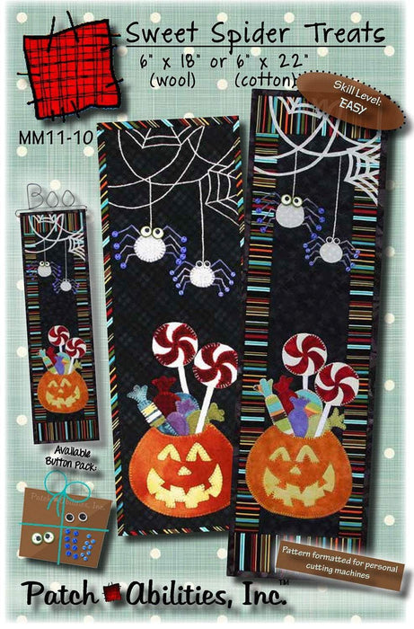 Sweet Spider Treats PATTERN for cotton or wool! Quilted wall hanging or table runner by Patch Abilities, Inc. Halloween, Pumpkin, fall - RebsFabStash
