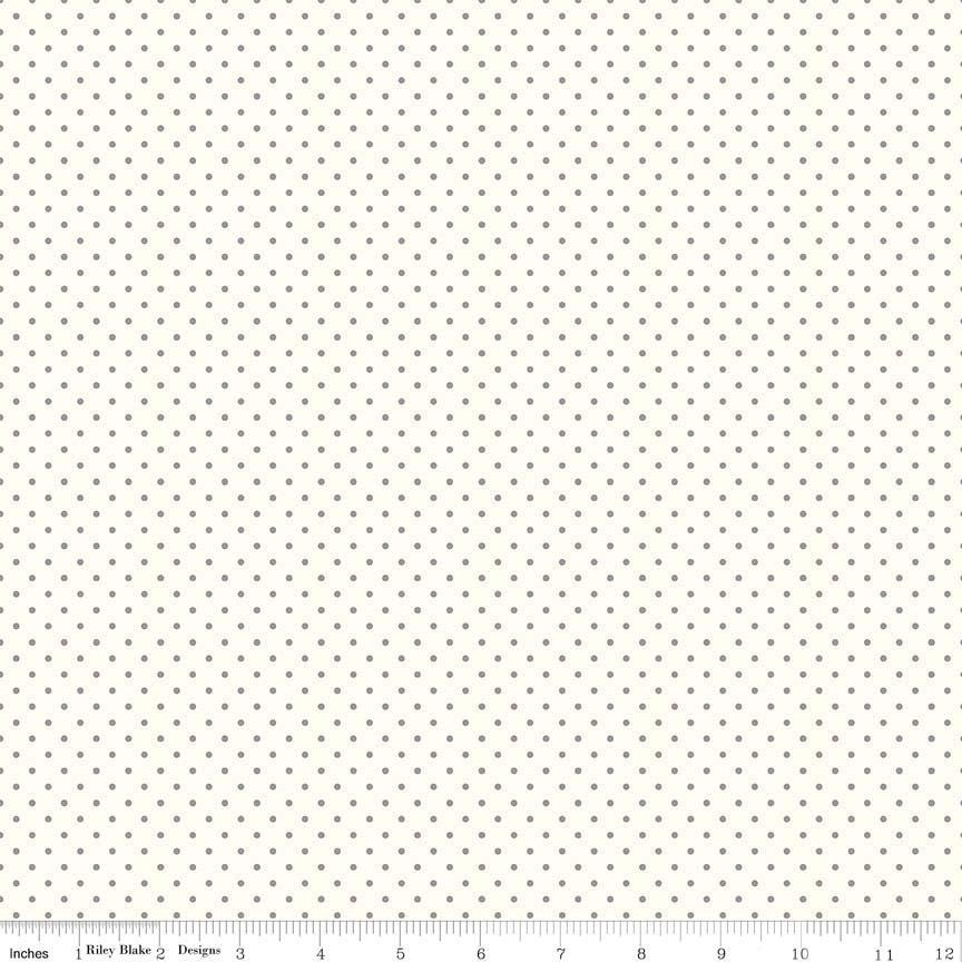 Fabric by the Yard by EZ Fabric Silver Gray Minky with Small White Dots Swiss Dots