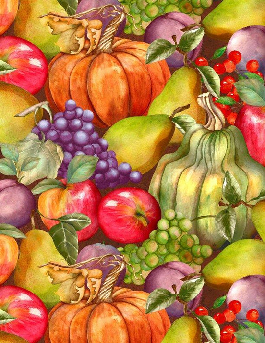 Thankful Harvest - per yard - Wilmington Prints - Packed Fruit- Beautiful Fall Colors - RebsFabStash