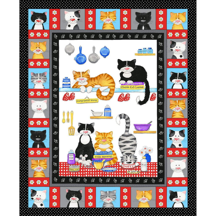 The Cats MEOW - Per Yard - Henry Glass - by Kate Mawdsley - Cat Chat on White - RebsFabStash