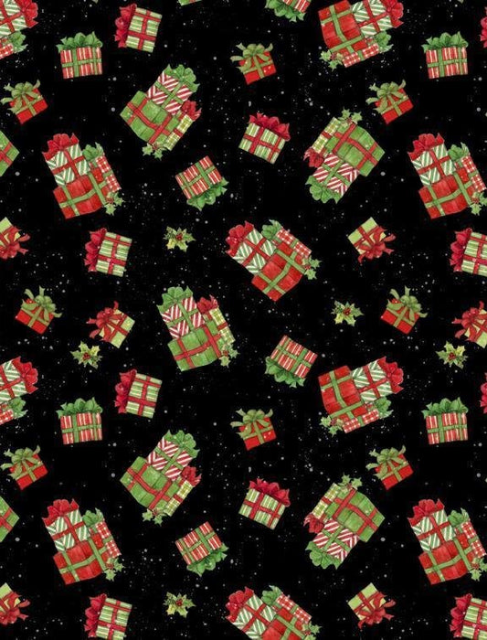 The Joy of Giving - Ornaments on Black - per yard - Wilmington Prints - Christmas, Holiday - 39606-973 - RebsFabStash