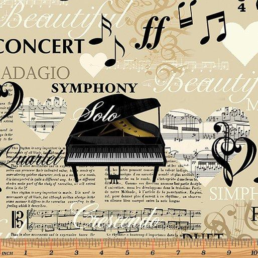 The Music in Me - Fabric collection - Per Yard - Benartex - by Kanvas Studio - black music notes on cream or ecru 8456-07 - RebsFabStash