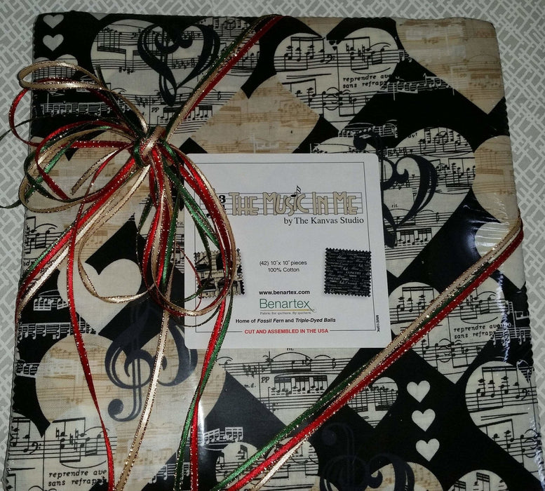 The Music in Me - Fabric collection - Per Yard - Benartex - by Kanvas Studio - treble clef - Tossed white treble clef on ecru cream - RebsFabStash