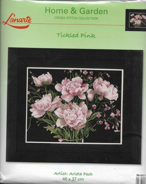 Tickled Pink Roses - Arleta Pech - Lanarte Home & Garden Collection - Aida Black (14 ct) Complete Counted Cross Stitch Kit - RebsFabStash