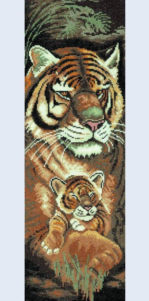 Tiger and Cub - Maternal Instincts - Evenweave (14 ct) LanArte Counted Cross Stitch Kit, incl. thread, fabric, needles, pattern PN-8227 - RebsFabStash