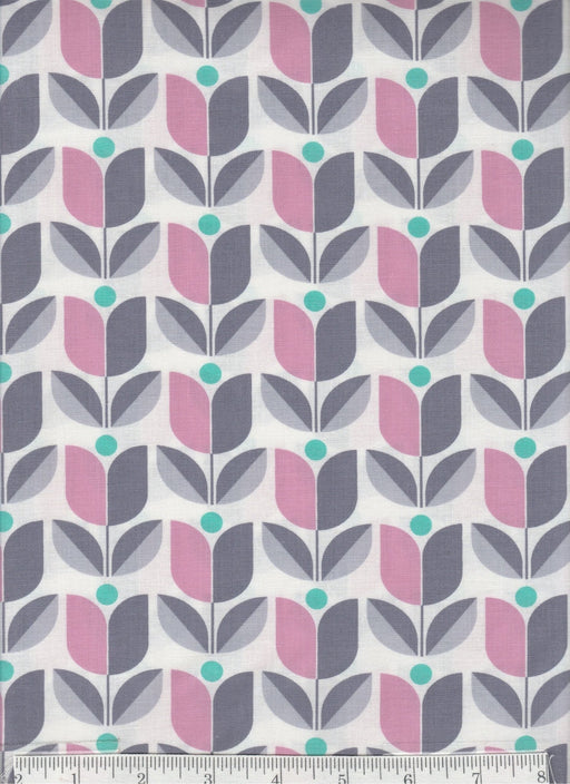 True Colors collection by Joel Dewberry - Free Spirit - Pattern Tulip, Color Gray and pink on white - RebsFabStash