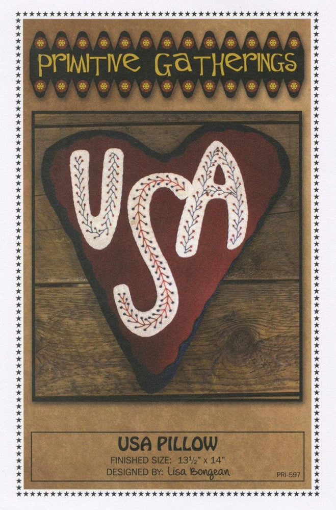 USA Pillow - Primitive pattern- Primitive Gatherings -Lisa Bongean - Wool applique, precut friendly #597 - RebsFabStash