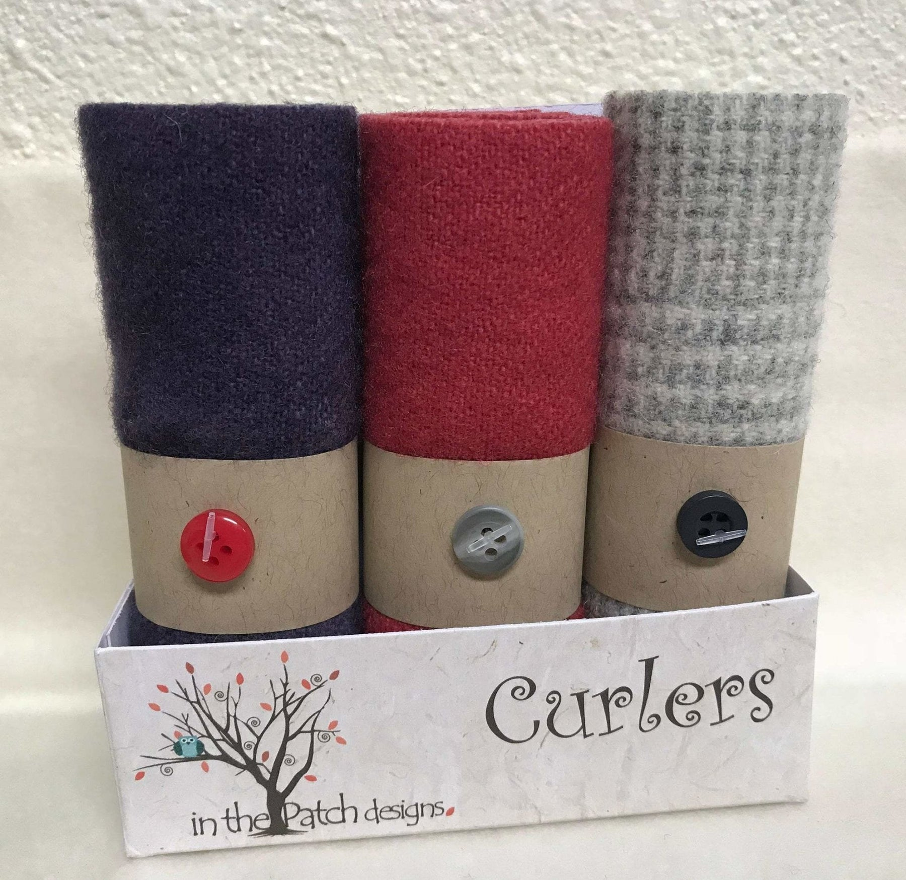 "Violets - Hand-dyed wool ""Curlers"" by In the Patch Designs - (3) 4"" x 16"" - Beautiful purple, red, cream grey, felted - RebsFabStash"