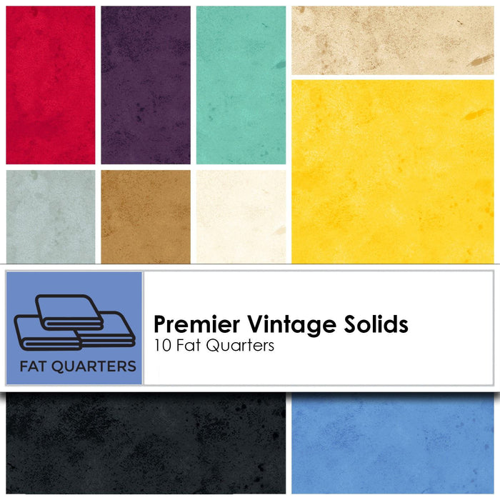 Washington Street Studios - Premier Vintage Solids - (10) Fat Quarters - Great tonals and blenders - RebsFabStash